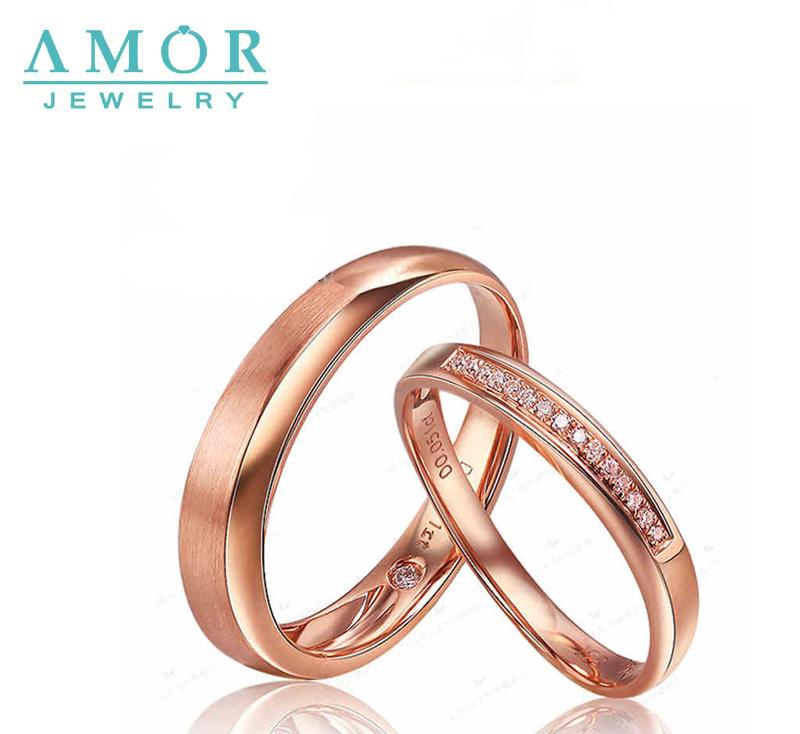 AMOR BRAND SECRET GARDEN 0.046CT H /SI 100% NATURAL DIAMOND 18K ROSE GOLD LOVERS RING JBFZSJZ111(China (Mainland))