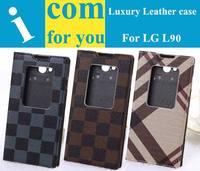 Luxury Classical Grid Leather case for LG L90 Dual SIM D410 D405