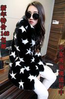 2014 Women rex rabbit hair fur coat long design women's with a hood zipper fashion overcoat