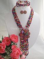 Beauty stone flower necklace bracelet fit 2014 wedding party MN-2247
