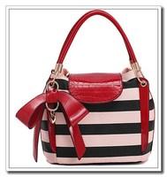 Fashion Women Handbag High Quality Candy Pastels Bicolor Stripes Designers Shoulder Bags For Woman Genuine PU leather AK173