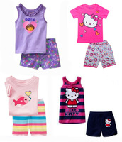 2014 summer kids cartoon pajamas set/Adorable baby & children clothing set/Cute hello kitty girls pajamas