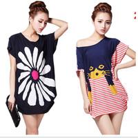 Free shipping 2014 summer plus size loose casual women's bamboo cotton print medium-long short t-shirt tops tees multi-styles