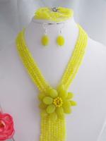 Beauty stone flower necklace bracelet fit 2014 wedding party MN-2246