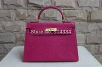 High-quality (1:1) 32CM Ostrich handbag (H-handbags) French style Women's handbags purse 100% Genuine leather Tote Gold hardware