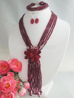 Beauty stone flower necklace bracelet fit 2014 wedding party MN-2249