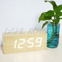 Rectangle Yellow Wood Timer Digital Alarm Clock With US Plug Adapter