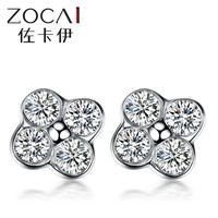 ZOCAI 2014 New Arrival Four-leafs clovers 100% natural diamond 0.14 ct 18K white gold diamond Stud earrings