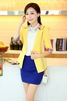 2014 New Autumn Blazer Women Solid Slim Single Button Jacket Casual Candy Color Three Quarter Jackets women's coats