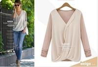 New Style High-density Stitching Knitted Chiffon Fashion Shirt Women's 2015 Long Sleeve V-neck Blouses