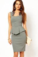 Clothing summer elegant modern female one-piece dress satin neck 6215