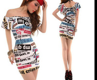 2014 free shipping new fashion summer women letter print dress night club wear one piece bandage bodycon dresses