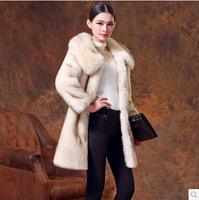 women's medium-long overcoat imitation mink fur coat turn-down collar thickening women's