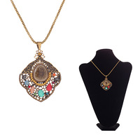 Multi necklace pendant jewelry chandelier gold color long chain stone + FREE GIFT AMAZING EARRING!!!!!