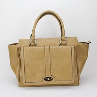 H014(khaki)2014 hot sale Lady bags, Asia popular fashion style ,shining PU leather,Free shipping