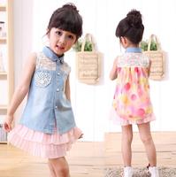2014 HAPPY Girl Denim Vest  Princess Flower Chiffon Tunic Top Age 1-5 Years 5pcs Wholesale OEM ODM