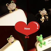 Quality Cheap Cute Alloy Frog  Eco 3.5 mm Cell Phone Dust Plug Earphone Jack Plug R-279