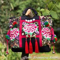 Original Ethnic Embroidery Bag Handmade Flowers Tassel Embroidered Fringed Shoulder Bag Bells Zipper Big Handbag Shopping Bag