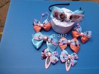 7PCS/SET 10Set/lot Frozen Hairpin Girls Princess Hair Clip Snow Queen Elsa Headwear 2 Rubber band + 4 Clips +1 Hairpin Wholesale