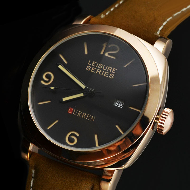 Brand Logo Curren High Quality Rose Gold Plating Quartz Business Men's Watches Fashion Military Army Vogue Sports Watch 8158(China (Mainland))