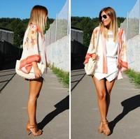 Vintage 3/4 sleeve Women Boho Hippie Loose Style Kimono Coat Cape Blazer Jacket S M L size free shipping