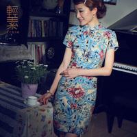 2014 Vintage fashion summer fluid trend national cheongsam women one-piece dress linen short cheongsam design
