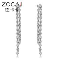ZOCAI NEW ARRIVAL 2.5 CT Certified Genuine Diamond 18K white gold diamond drop earrings E00171