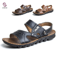 2014 Classic Design Genuine Leather men Sandals men summer shoes men leather shoes for slippers