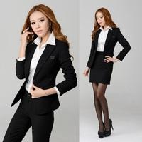 New Elegant Black 2014 Autumn Winter Fashion Slim Women's Career Suits Uniform Blazer Sets Professional Work Wear Suit Plus Size