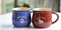 Zakka Imitation enamel cute ceramic cup mug milkcup breakfast coffee cup 7 kinds of color free shipping