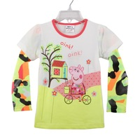 Fast Delivery F4285#  2014 new  fashion nova baby clothing Peppa Pig embroided cotton sweater girls long sleeve t-shirt
