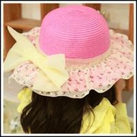 Y335 Korean lace big bow hat baby summer beach hat straw hat wholesale children's paternity cap