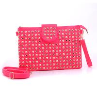 Fluorescent Pink Party Handbag Envelope Clutch Bag Screw Rivet + FREE GIFT CUTE BEANIE!!!!