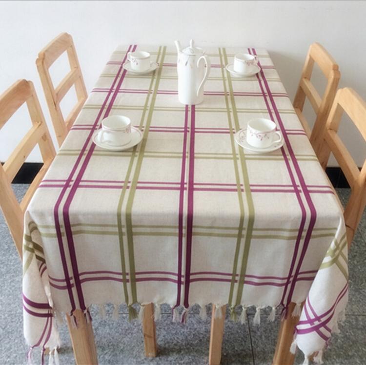 Handmade tassels Printed cotton dining plaid tablecloth fabric table cloth linen table cover skirt Overlay aparelho de jantar(China (Mainland))