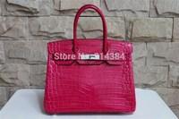 High-quality (1:1) 35CM alligator Shiny bag (H-handbags) French Women's handbags purse 100% Genuine leather Tote Silver hardware