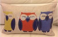 Cotton Linen Pillow Case Fashion Cute Owl Rectangle Long Hold Cushion Cover Waist Pillowcase DECORATIVE PILLOW Free Shipping