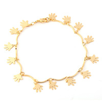 New Fashion Jewelry 2014 Women/Men Gift Trendy Gold Plated palm shaped Round Chain & Link Bracelets Bangles