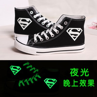 free shipping Luminous neon lovers shoes canvas shoes skateboarding shoes casual shoes single shoes high women's shoes super man