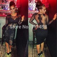 S-XXXL Plus Size Summer Dress 2015 Women Long Sleeve Black Velvet Lace Openwork Crochet Nightclub Bodycon Bandage Party Dresses
