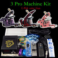 Tattoo Kit 3 Pro Machine Gun Power Supply Needles Grip Tip ink Cup (U-Pick color machine ) Free Shipping