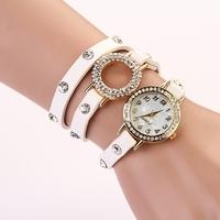 Koshi 2014 NEW FASHION  leather bracelet shell rivet quartz wrist watch,free shipping