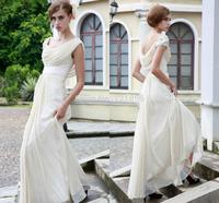 qn-70 new elegant beads crystal ruffles short sleeve backless long zuhair murad chiffon wedding dress china 2014