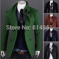 2014 New Stylish Winter Coat Men Double Breasted Long Blazer Slim Outerwear Windproof Brand Men's Parka Free Shipping
