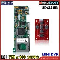 support 6 keys 1-CH hd mini DVR module ,SD card 32GB 704*576 dvr module
