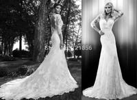 qn-71 new elegant beads appliques mermaid v-neck half sleeve backless long zuhair murad lace wedding dress china 2014