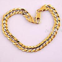 1pcs 7mm Men Women 18K White Yellow Gold Filled Curb Chain Bracelets Bangles E203