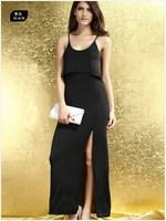 Clothing women's ruffle hem faux two piece placketing long design sexy one-piece dress 6167