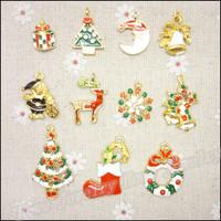 Mix 44 pcs Christmas Charms  Pendant  Gold color  Zinc Alloy Fit Bracelet Necklace DIY Metal Jewelry Findings