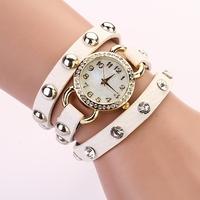 Koshi  NEW FASHION Punk leather bracelet shell rivet quartz wrist watch,free shipping