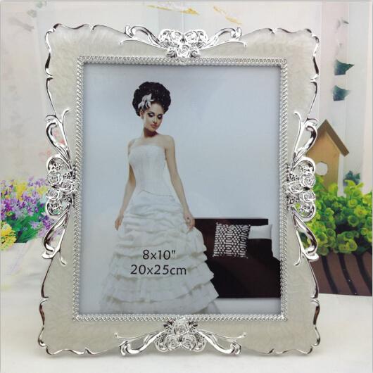 Free shipping foto frame sliver vintage picture frame abs plastic frame elegant white wedding photo frame carfts home decoration(China (Mainland))